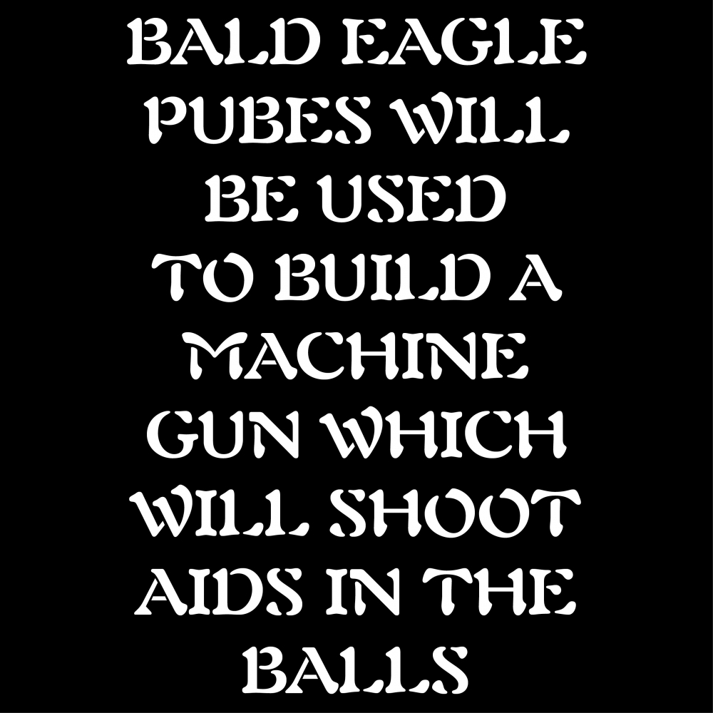 BJØRN HATTERUD , Bald Eagle Pubes Will Be Used To Build A Machine Gun Which  Will Shoot   , Cassette